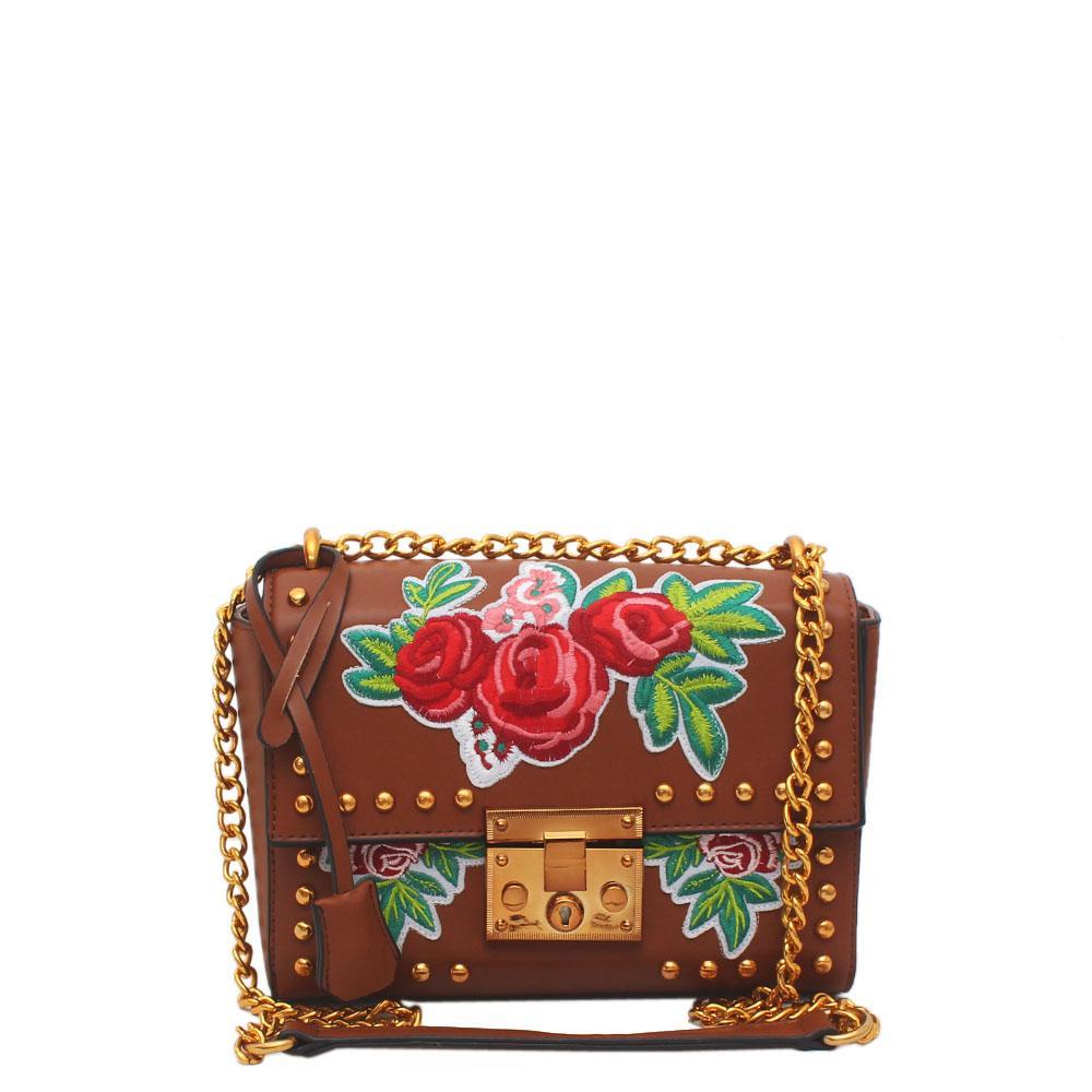 Brown Leather Small Padlock Bag