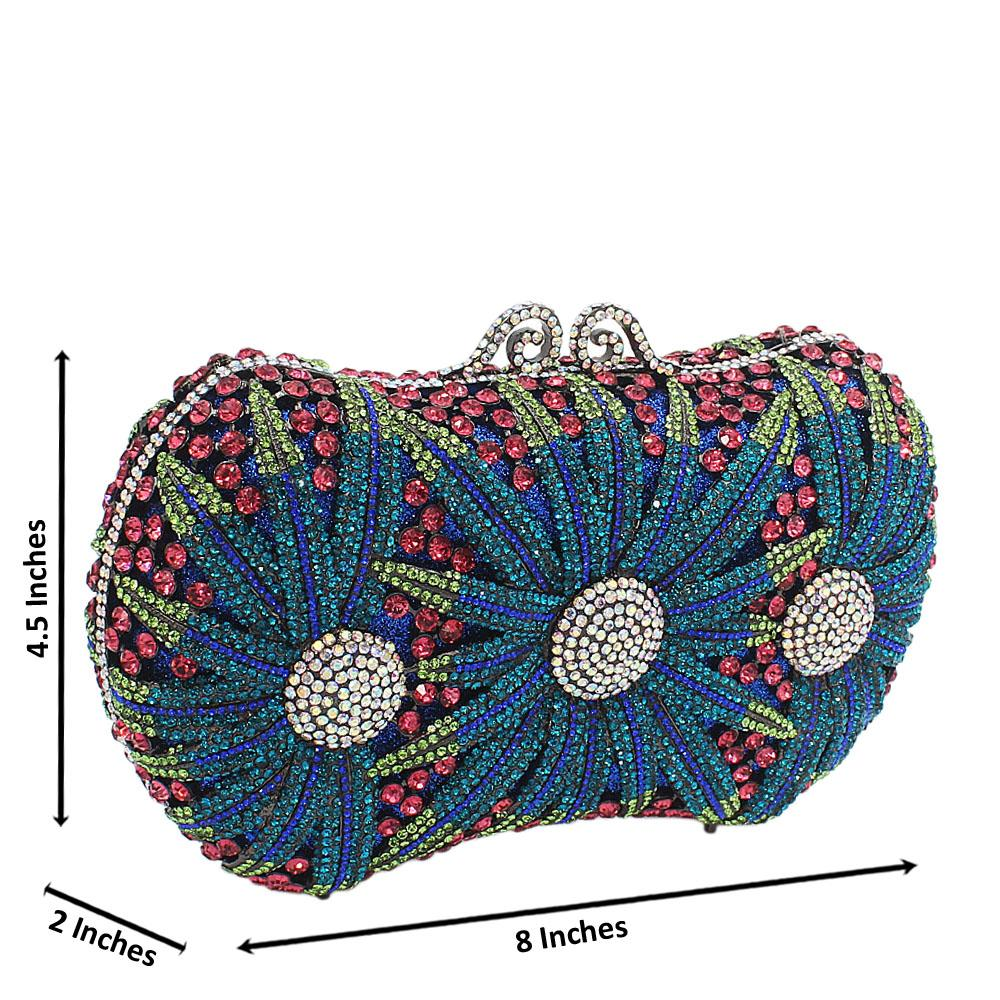 Multicolor Mix Fireworks Diamante Crystals Clutch Purse