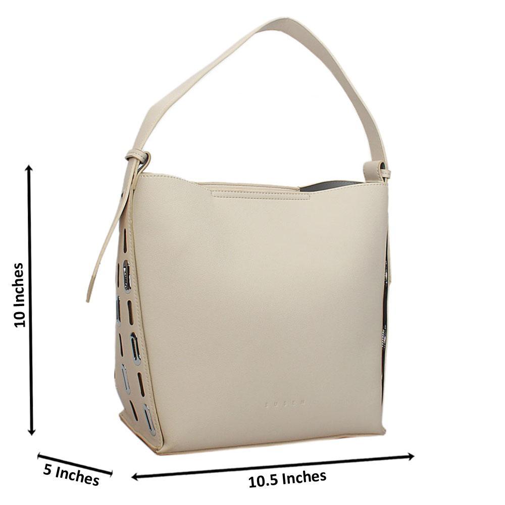 Susen Off-White Leather Shoulder Handbag