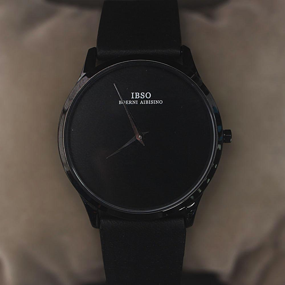 Wellman Black Leather Flat Watch