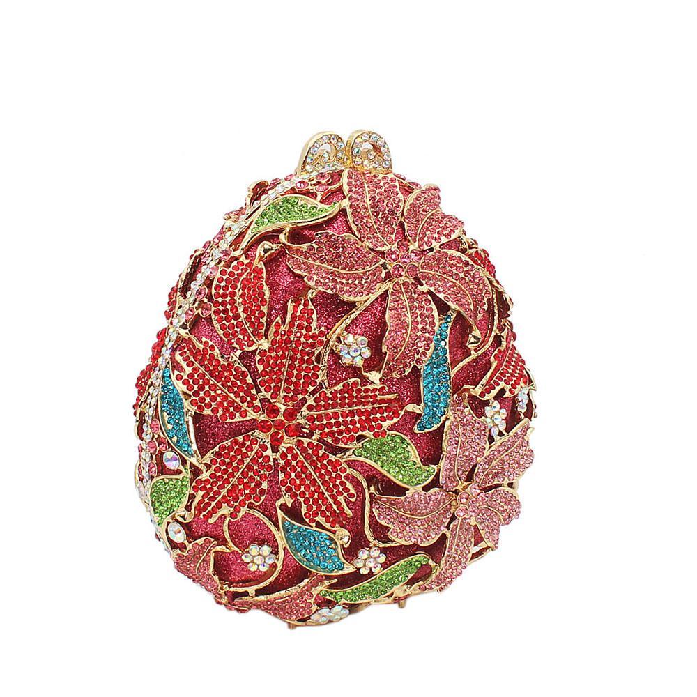 Pink mix Pine Cone Diamante Crystals Clutch Purse