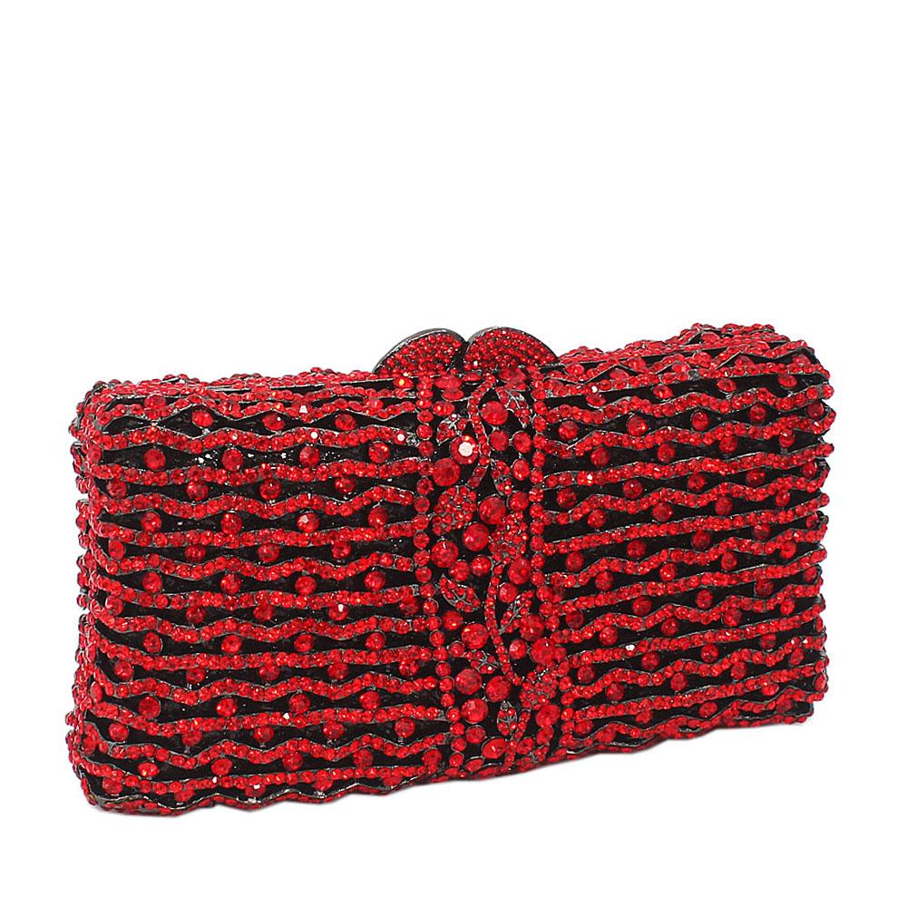 Red Rect Wave Diamante Crystals Clutch Purse
