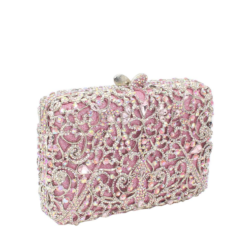 Pink Silver Multicolor Diamante Crystal Clutch Purse
