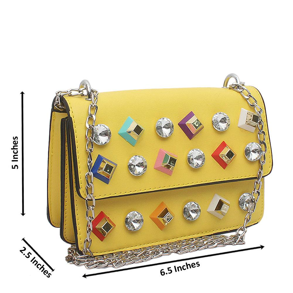 Yellow Studded Crossbody Leather Bag