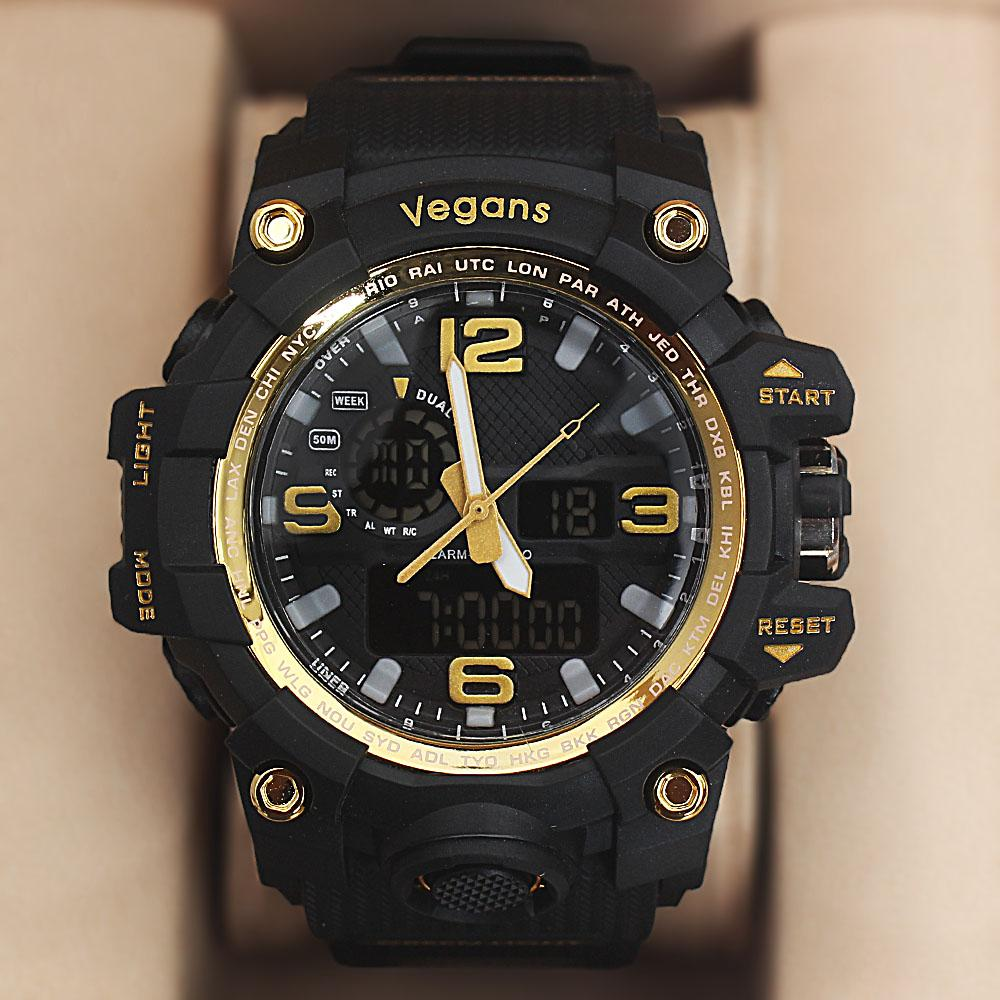 Vegans Black Gold Water Resistant 50M Analog-Digital Watch