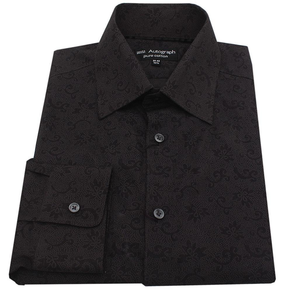 M&S Autograph Black Cotton Floral Pattern L/S Men Shirt