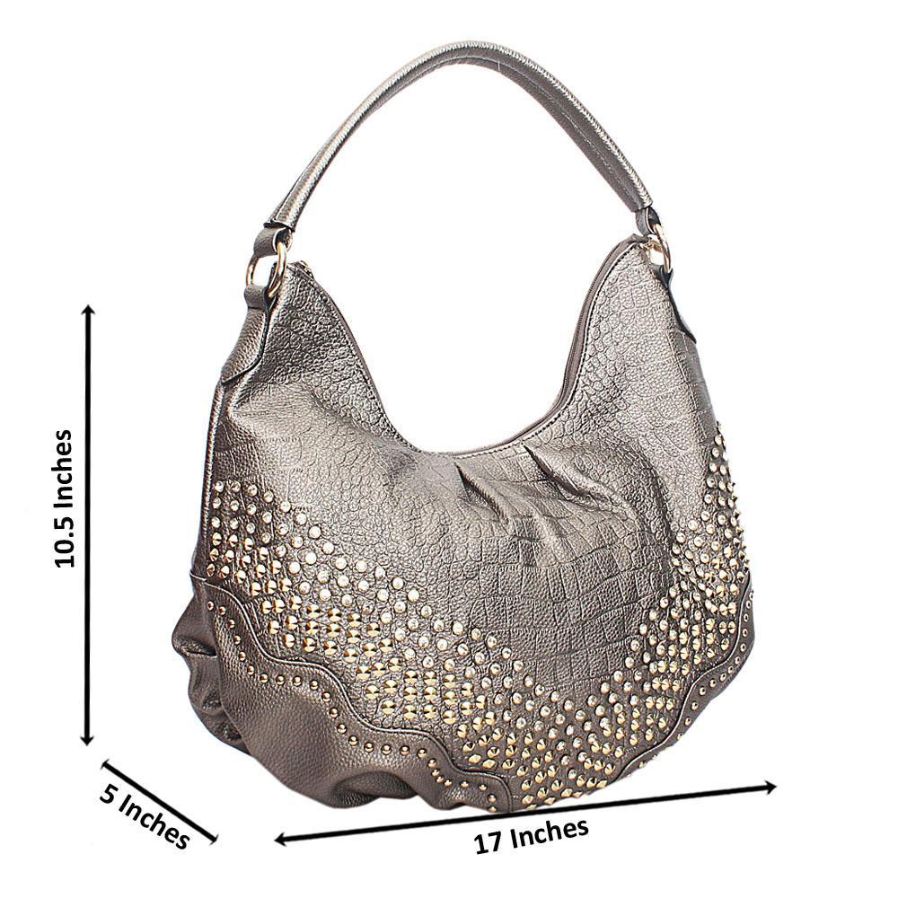Grey Bow Studded Leather Shoulder Bag