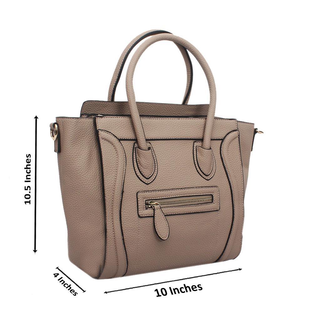 Khaki Leather Medium Luggage Tote Handbag