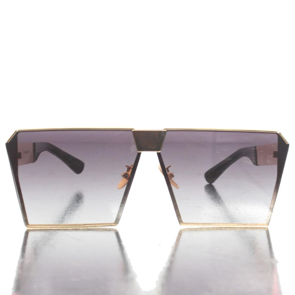 Gold Black Square Shield Lens Sunglasses