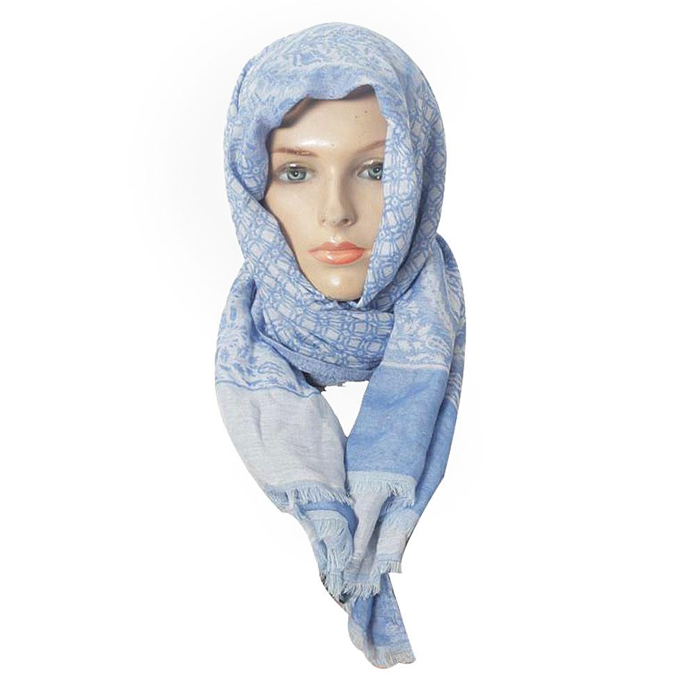 M & S Blue - White Ladies Scarf-One Size