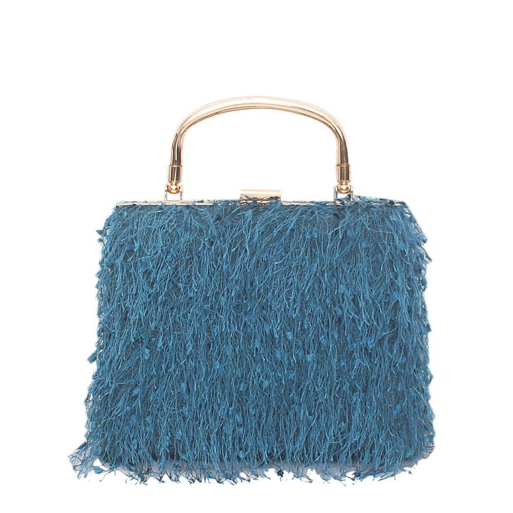 Caribbean Blue Lace Handle Clutch Purse