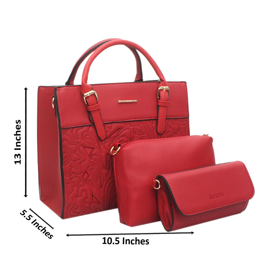 Susen Red Leather 3 in 1 Handbag