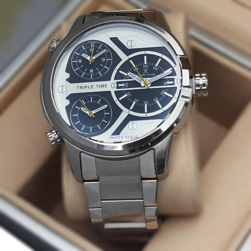 Daniel Klein Triple Time Silver Stainless Steel Fashion Watch