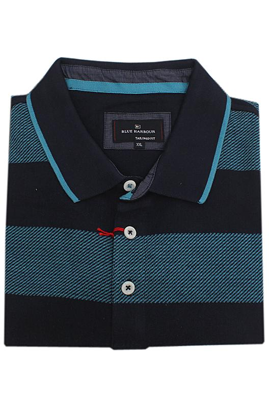 Blue Harbour Navy T.Green Cotton S/Sleeve Men Polo