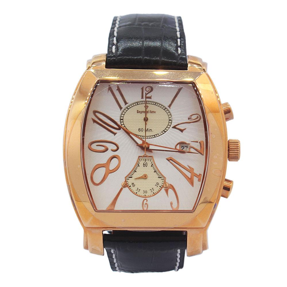 DR 3ATM Gold Black White Face Leather Navigator Watch