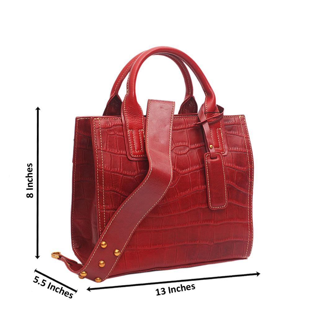 Shinning Crocodile Red Cow Leather Handbag