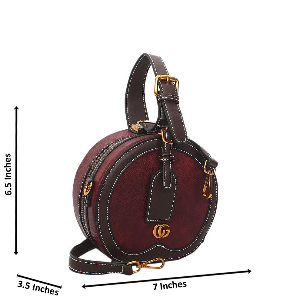 Purple Liliana Round Leather Mini Top Handle Handbag