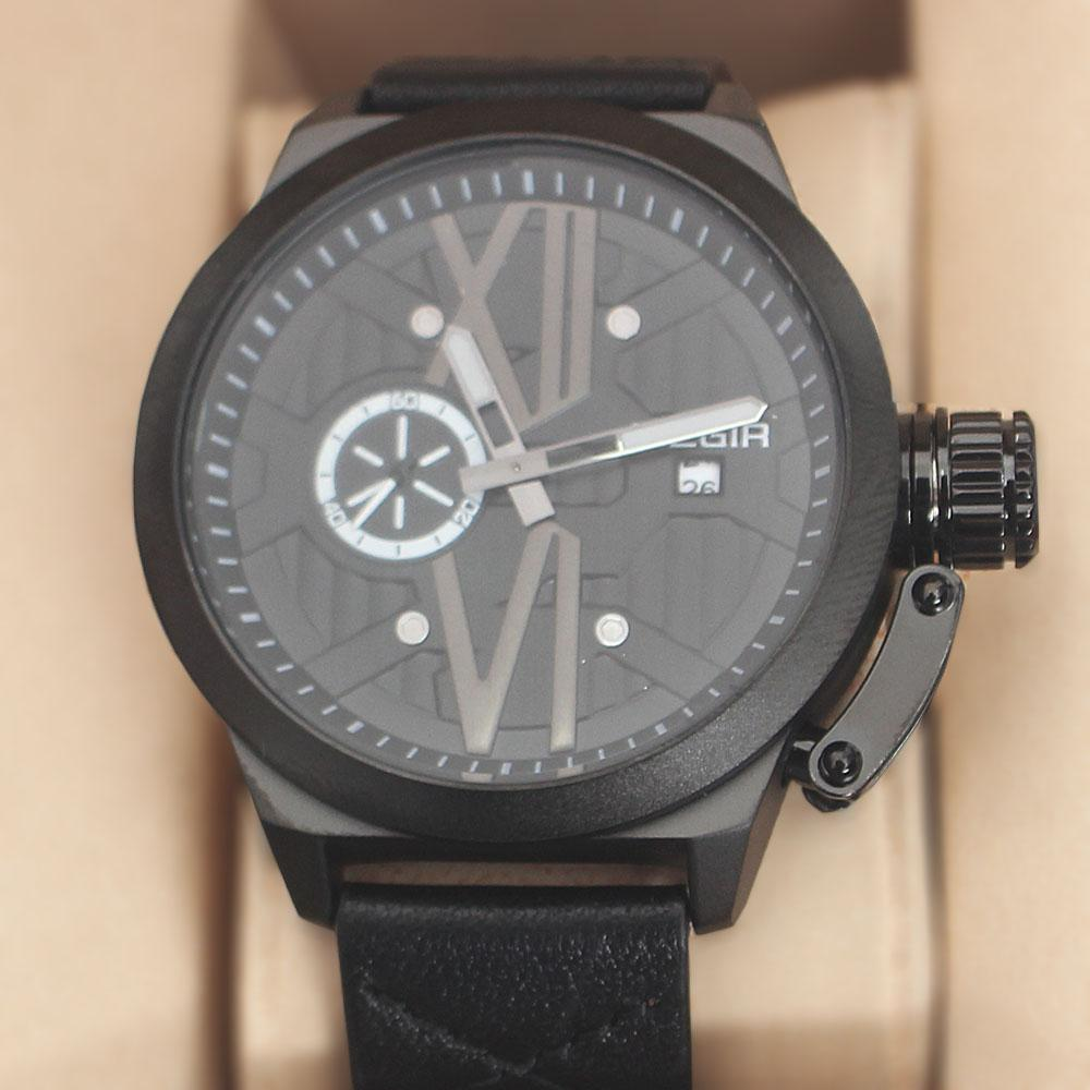 Megir Xchange Black Leather Watch