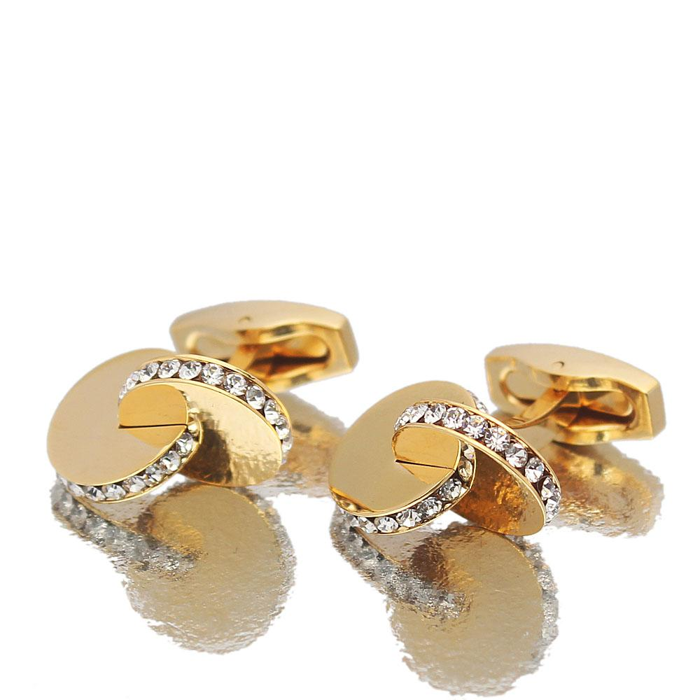 Gold Classic Studded Stainless Steel Cufflinks