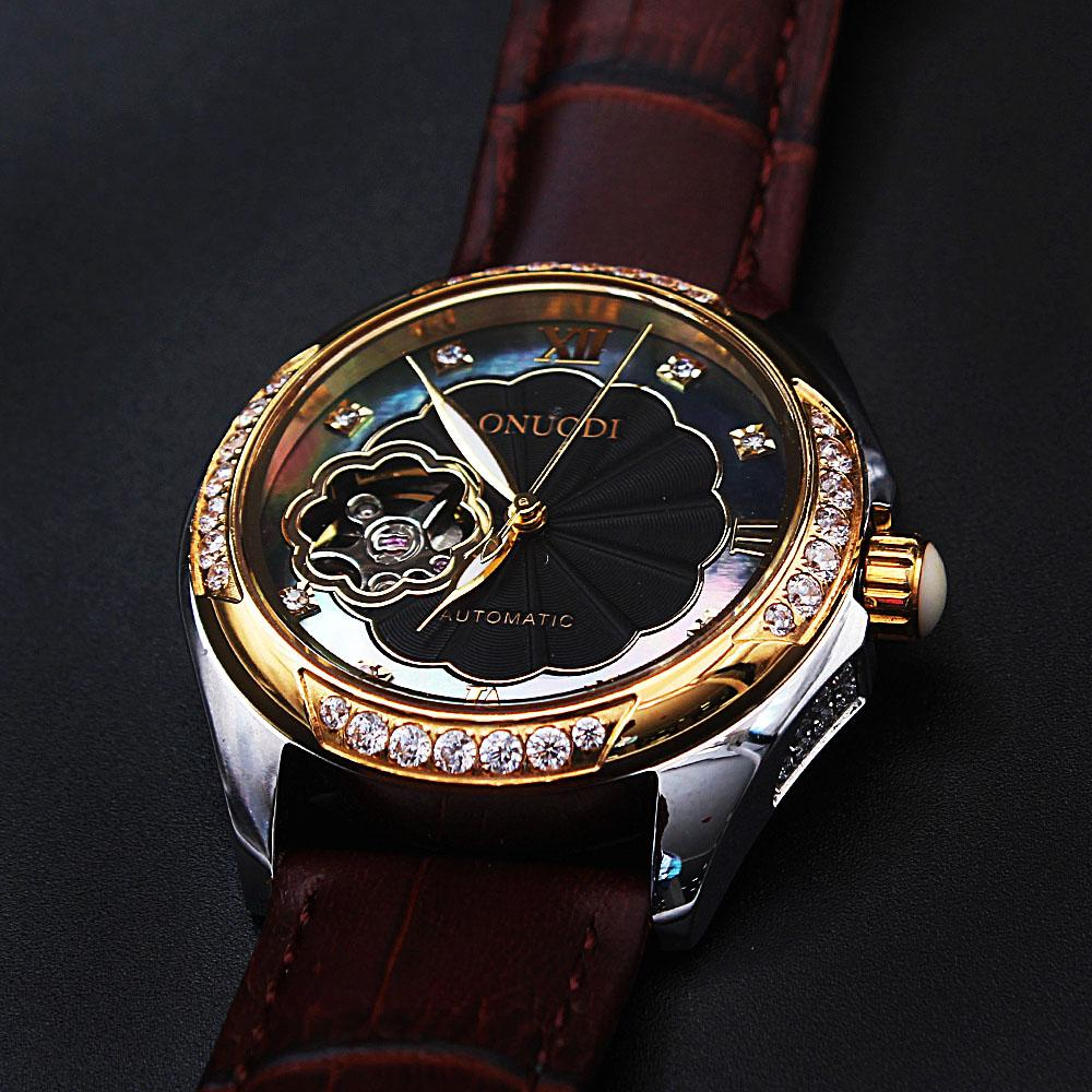 Diane Flower Studded Black Face Brown Leather Automatic Ladies Watch