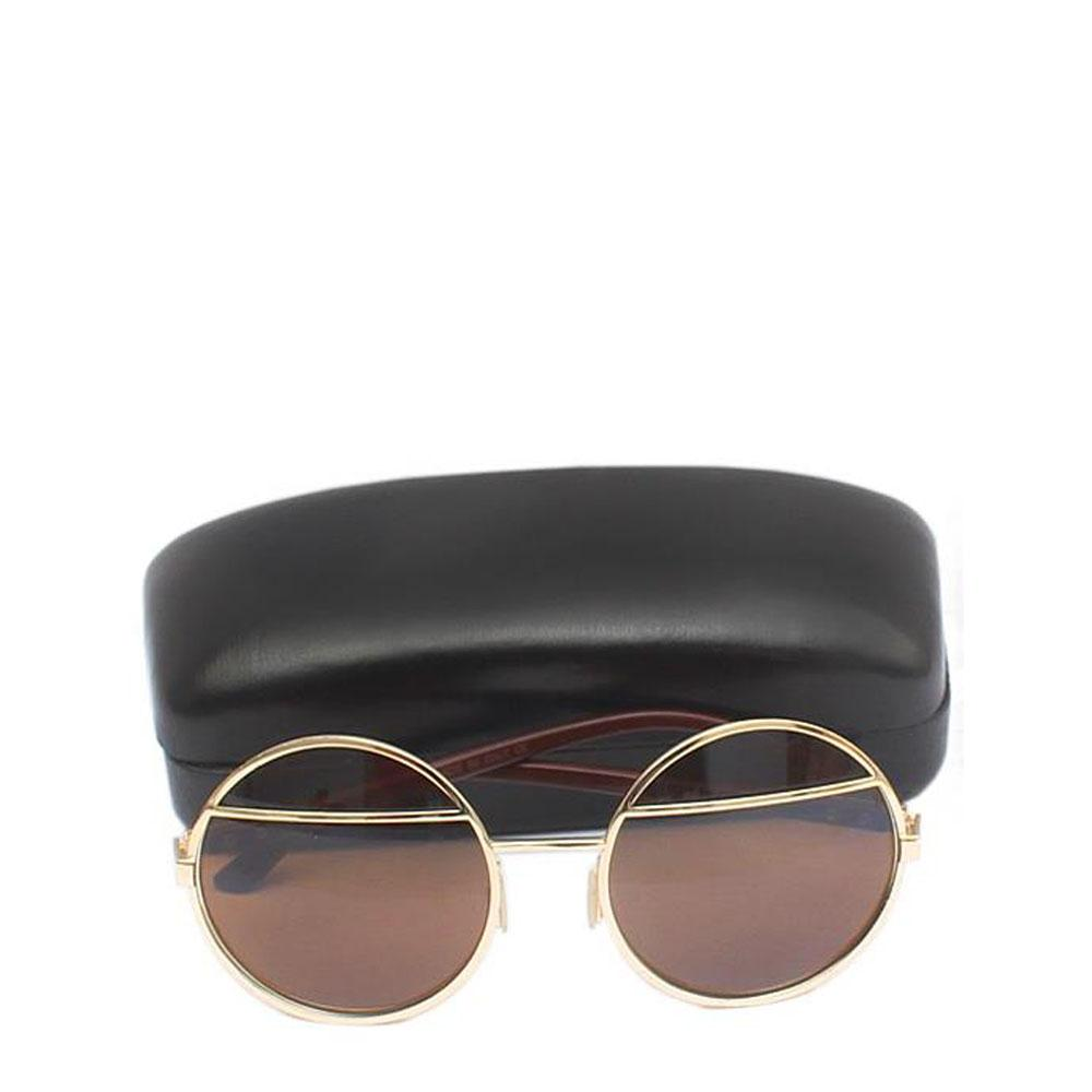 Gentle Monster Brown/Gold Round Shape Men's Sunglasses-