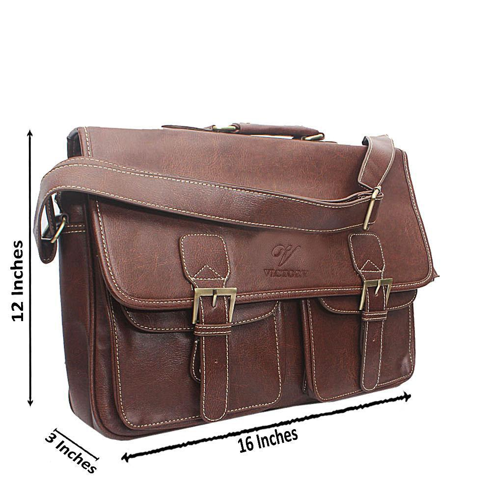 Coffee Double Pocket Leather Briefcase