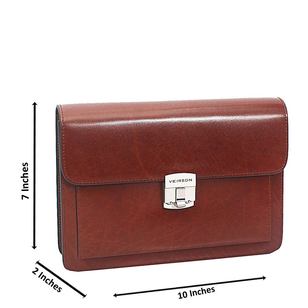 Brown Smooth Cowhide Leather Man Purse wt Lock