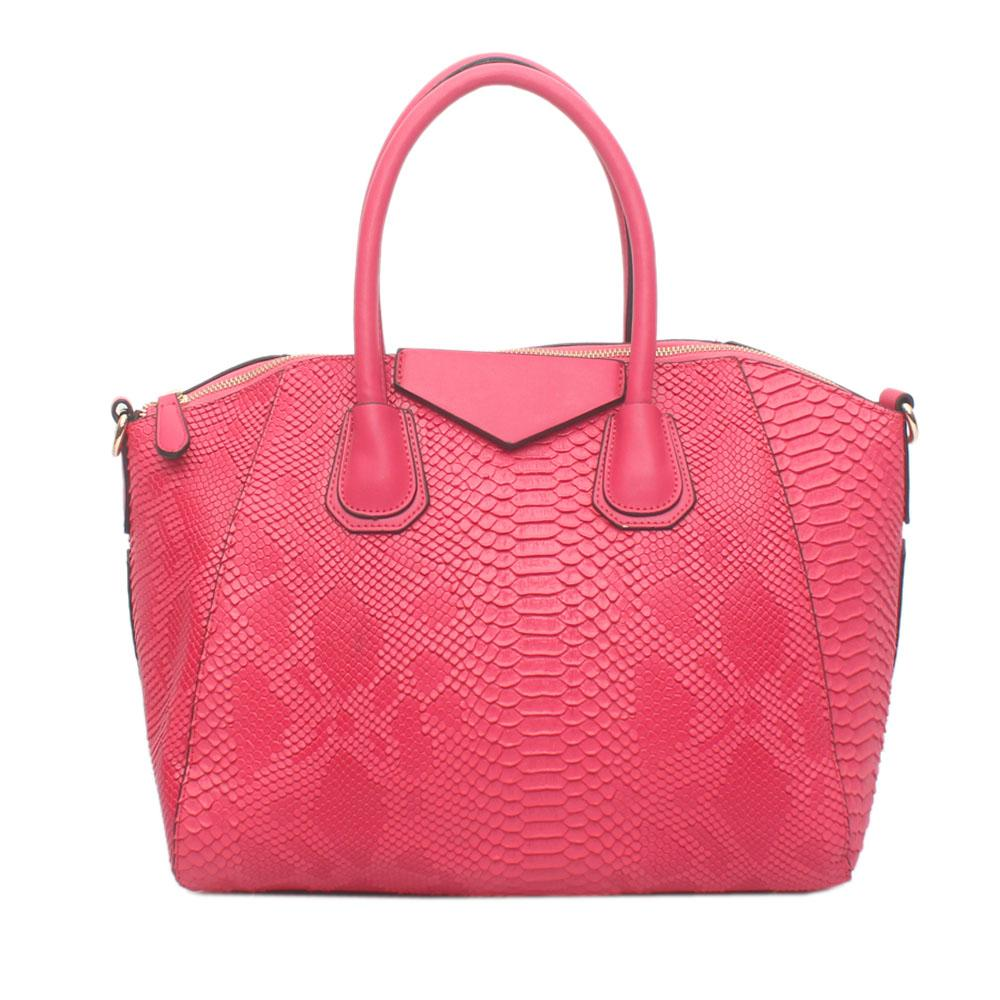 Pink Croc Leather Tote Bag