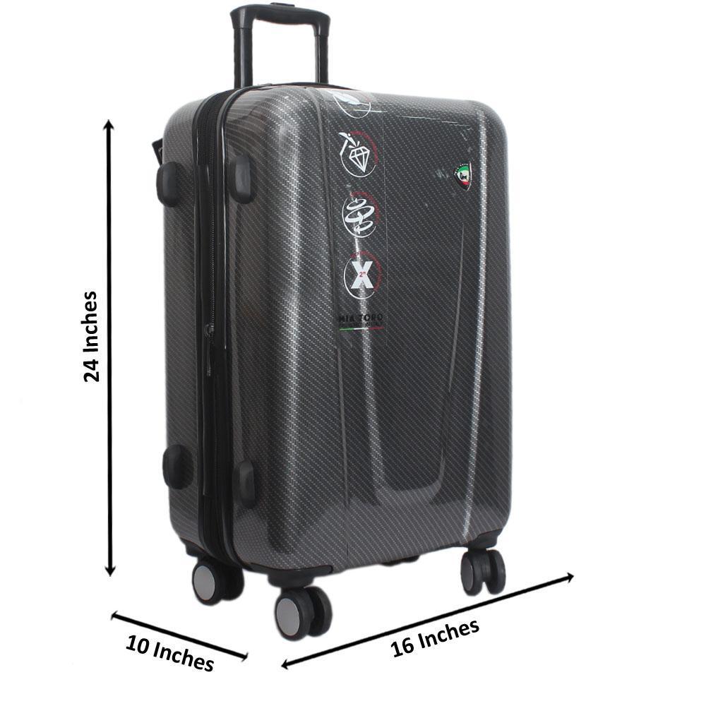 Mia Toro Dark Gray 24 Inch Hardshell Medium Suitcase Wt TSA Lock