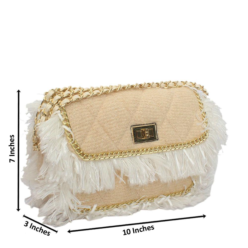 Cream Glitz Fabric Leather Crossbody Bag