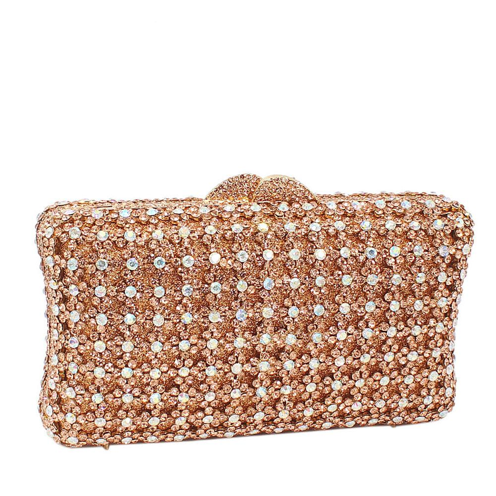 Gold Silver Shimmering Diamante Crystals Clutch Purse