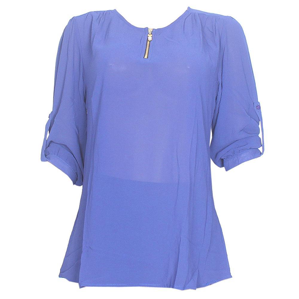 Anna Taylor Blue Chiffon See Through L/Sleeve Ladies Top