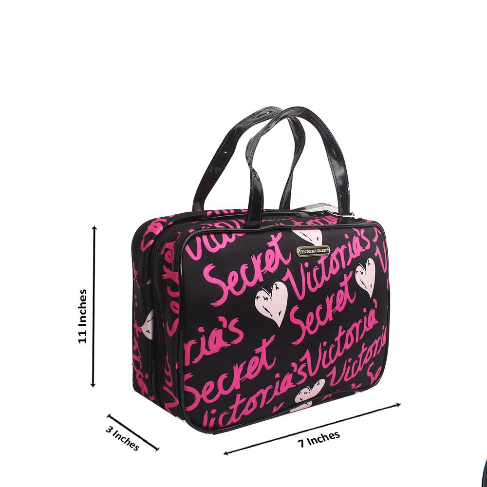 VS Pink Black Fabric Leather Toilet Bag