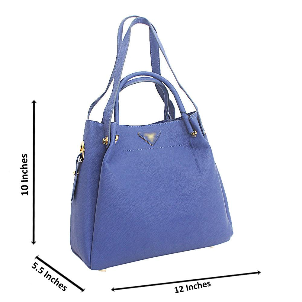 Blue Numa Cowhide Leather Tote Handbag