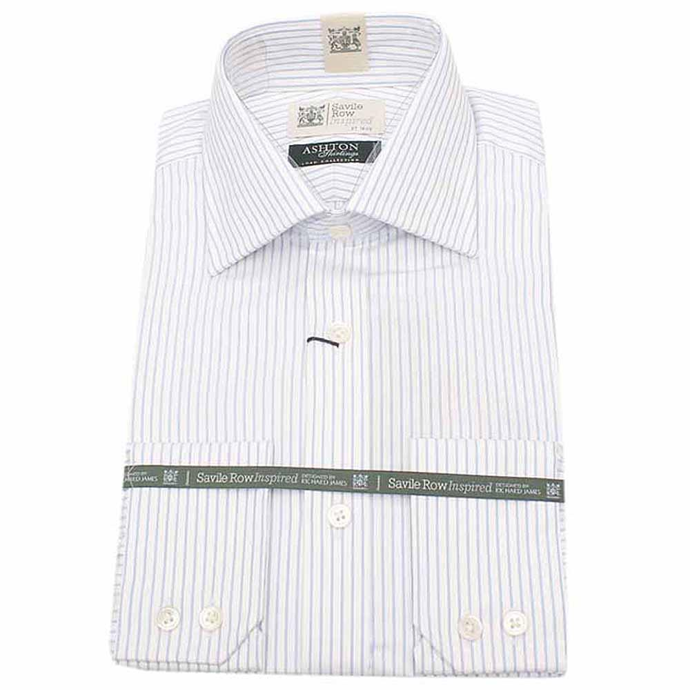 Savile Row Inspired White Blue Striped Men L/Sleeve Shirt