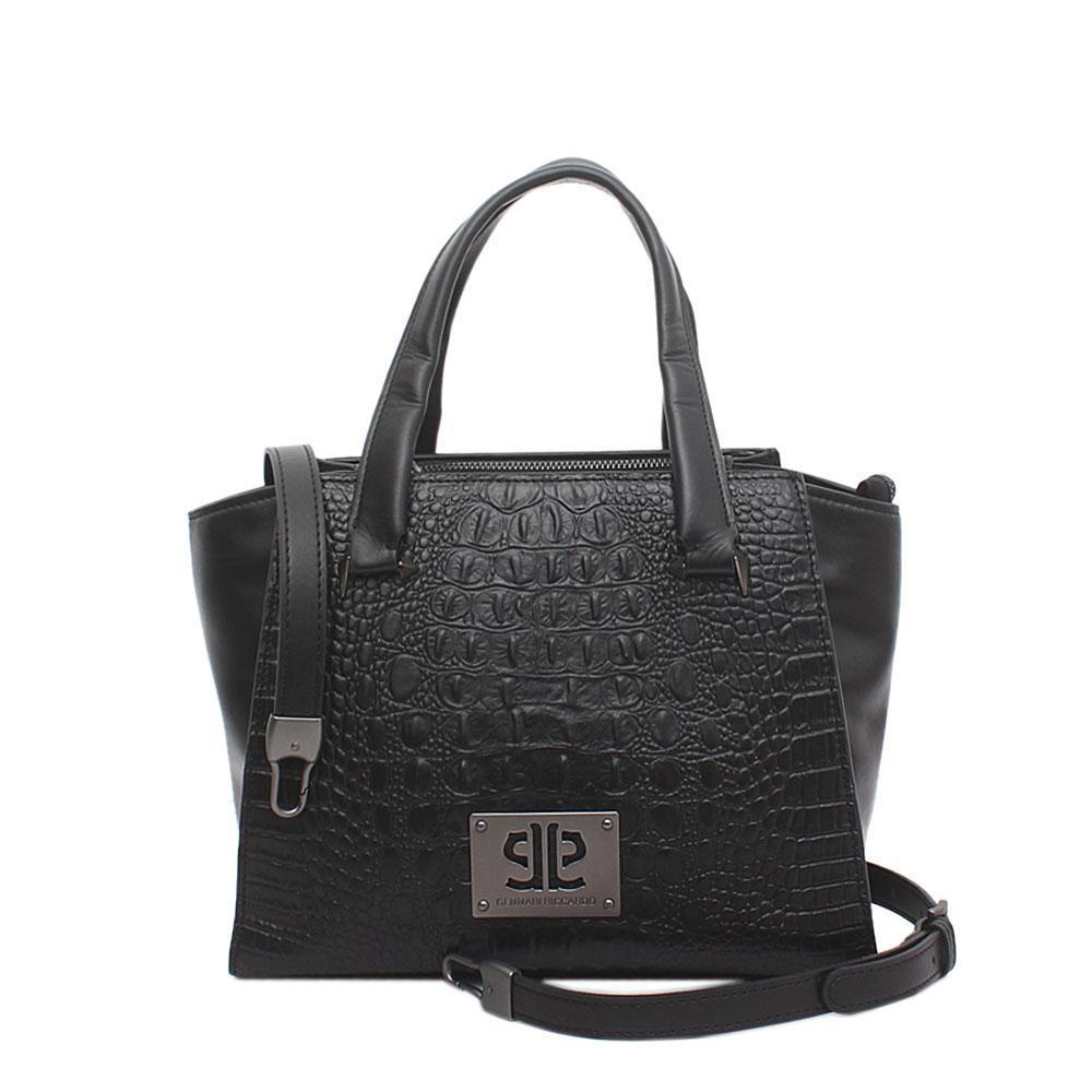 Genaari Riccardo Black Saffiano Leather Tote Bag