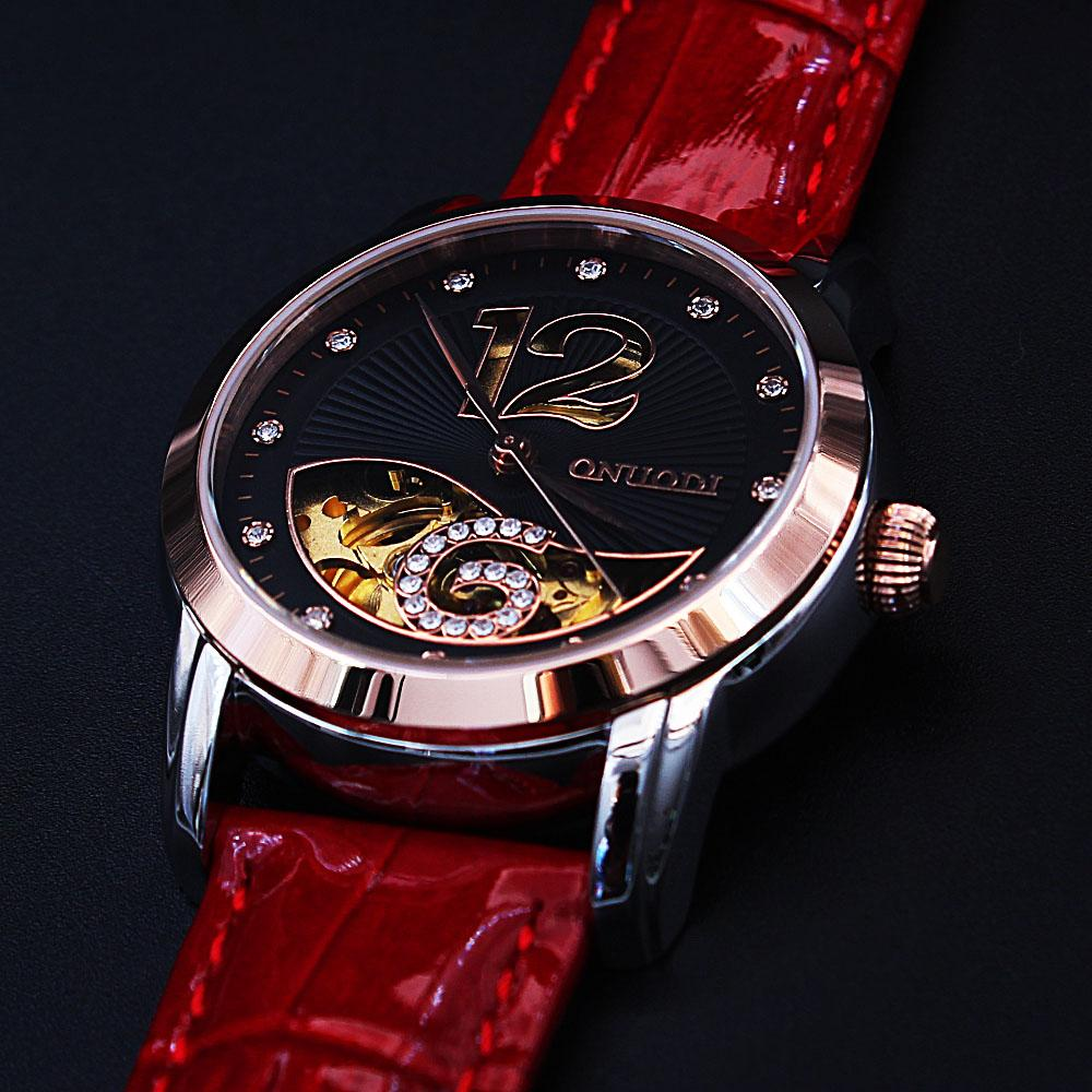 Diane Six Studded Red Leather Automatic Ladies Watch