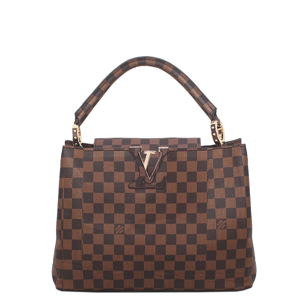 Brown Check Leather Single Handle Bag