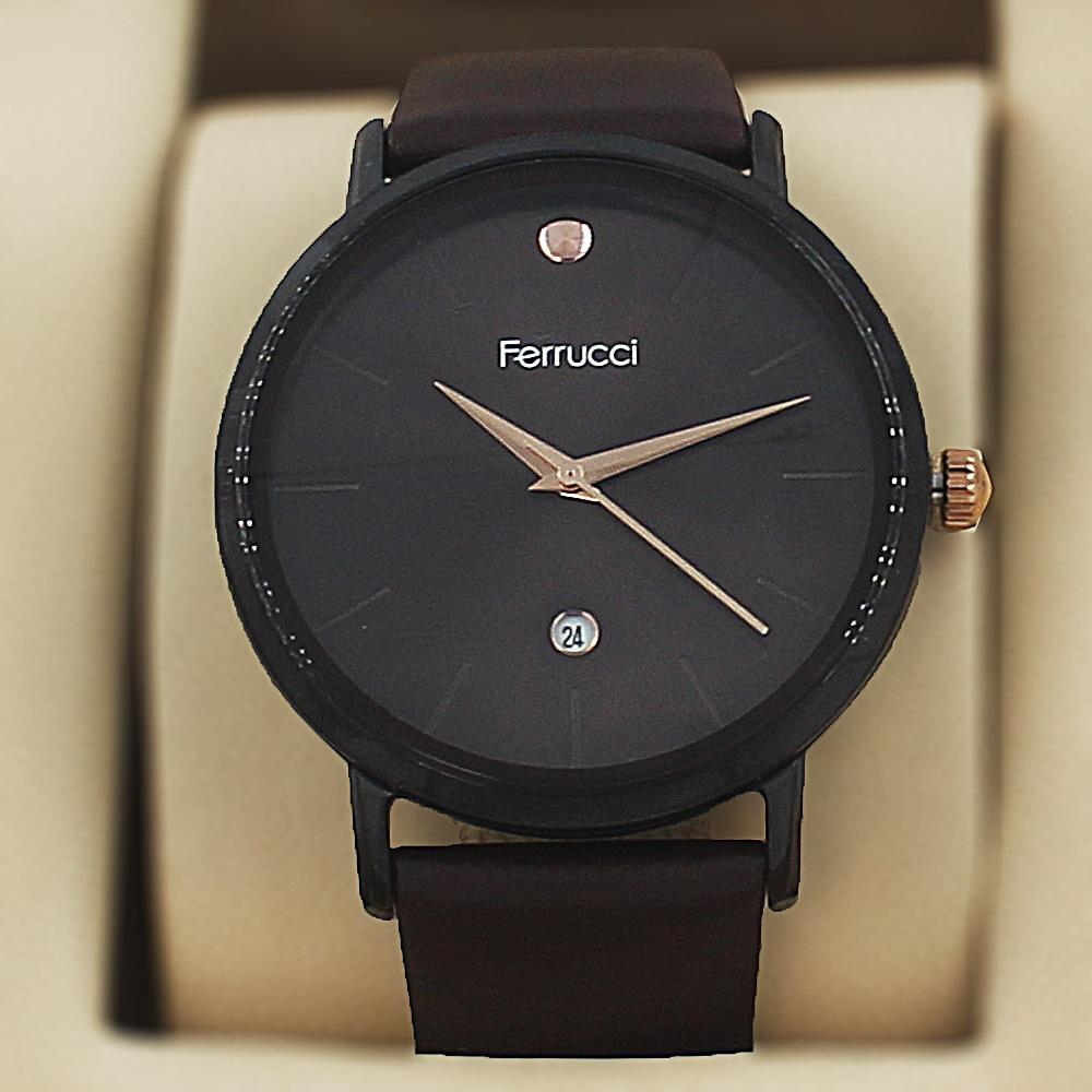 Ferrucci Elmo Coffee Leather Curve Series Watch