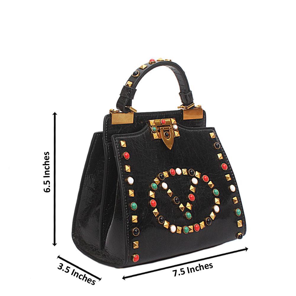 Black Studded V Mini Montana Leather Handbag