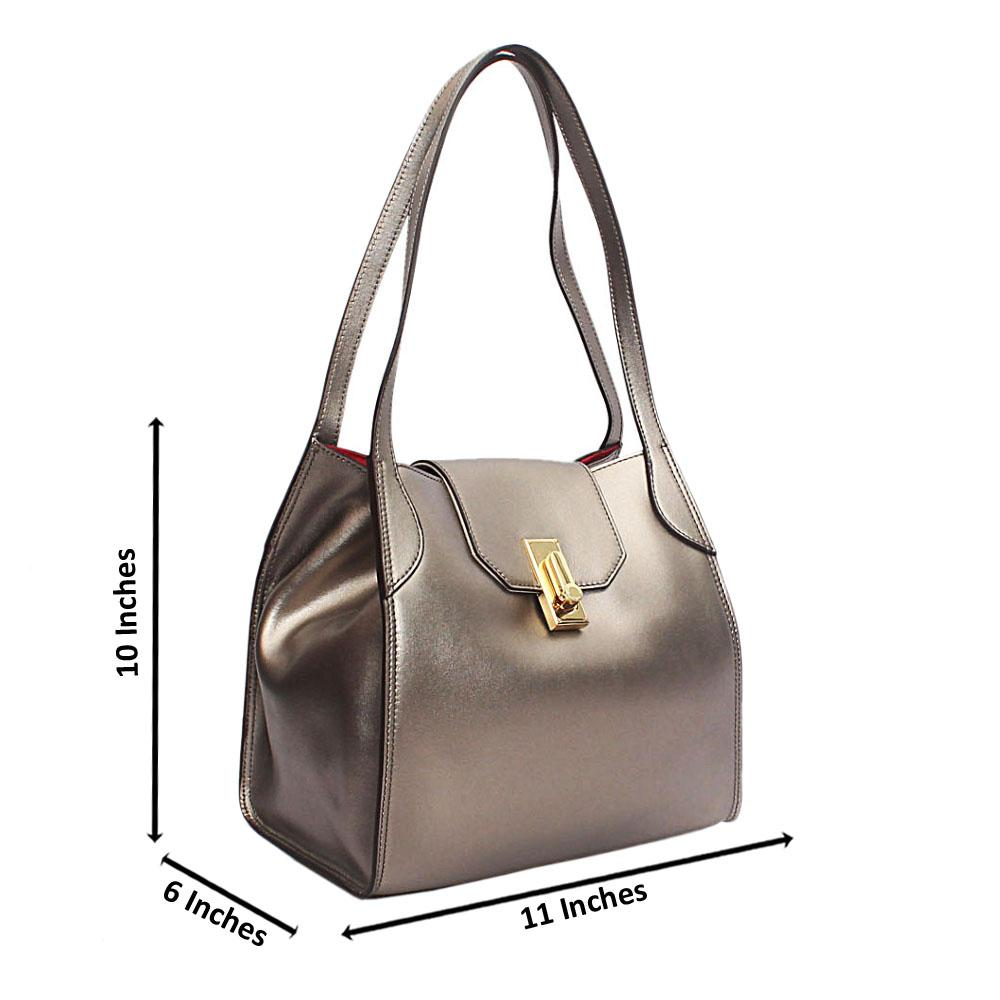 Forstmann Oscar Metallic Gray Cow-Leather Shoulder Bag
