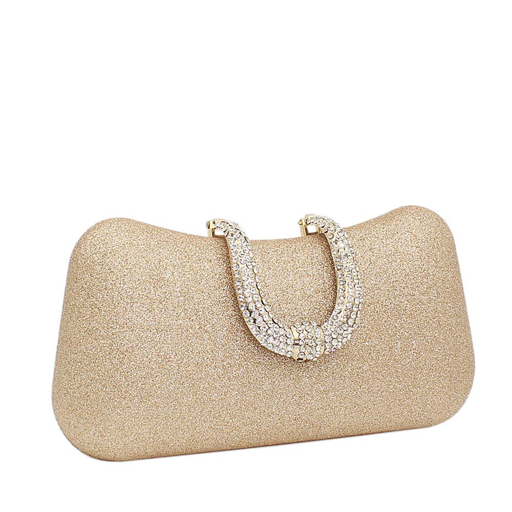 Gold Shimmering Studded Buckle Clutch Purse