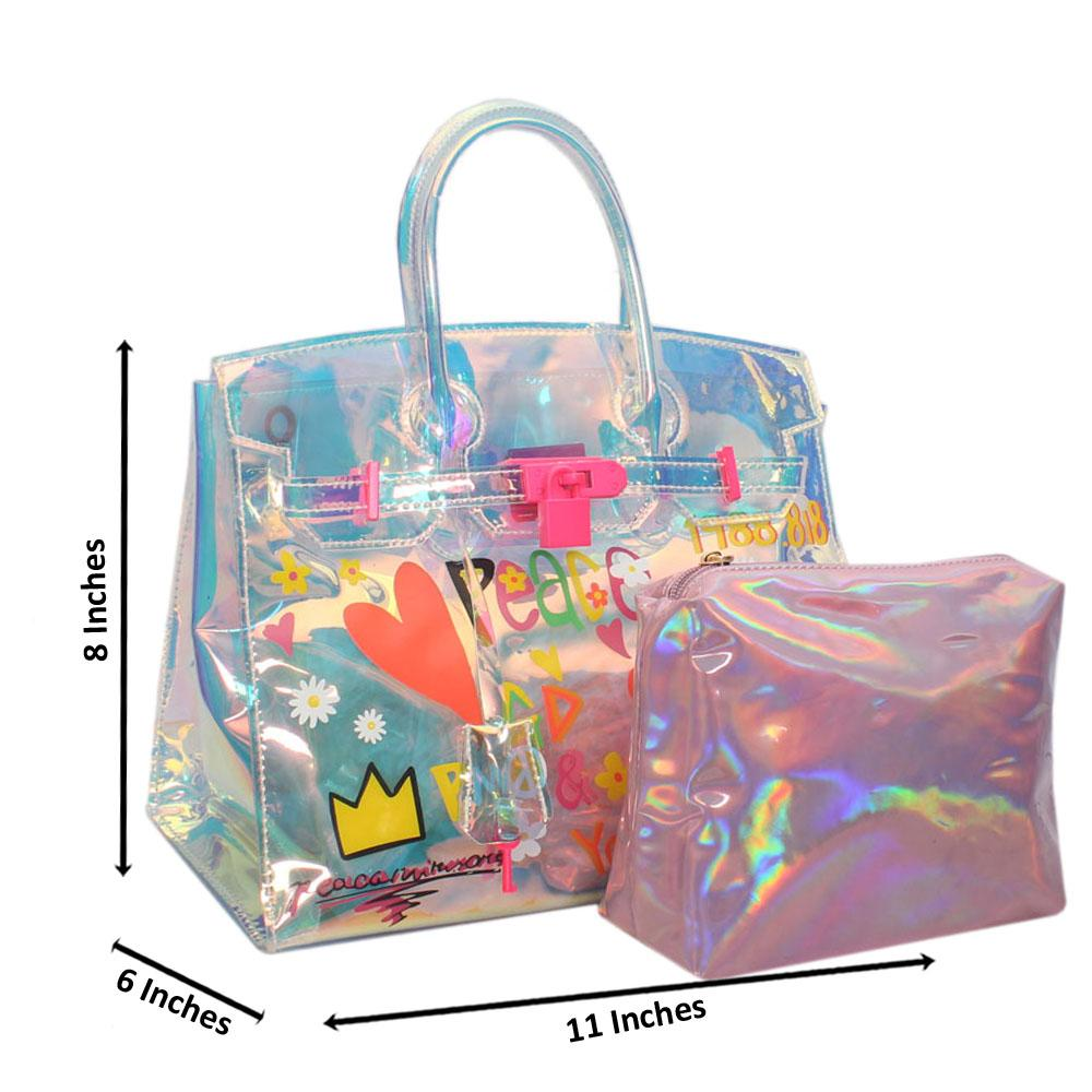 Crystal Multicolor Reflective Rubber Handbag