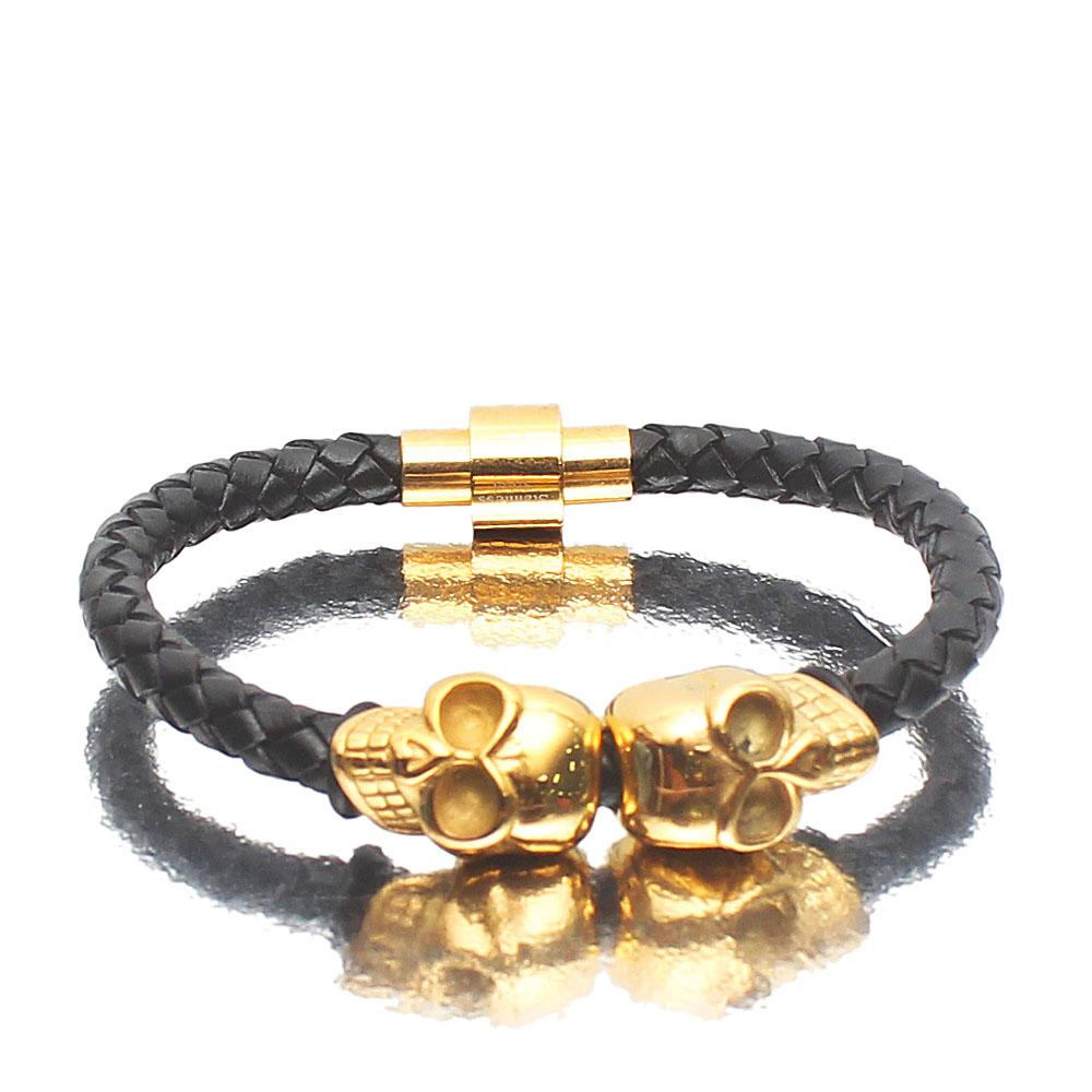 Double Skull Gold Leather Bracelet
