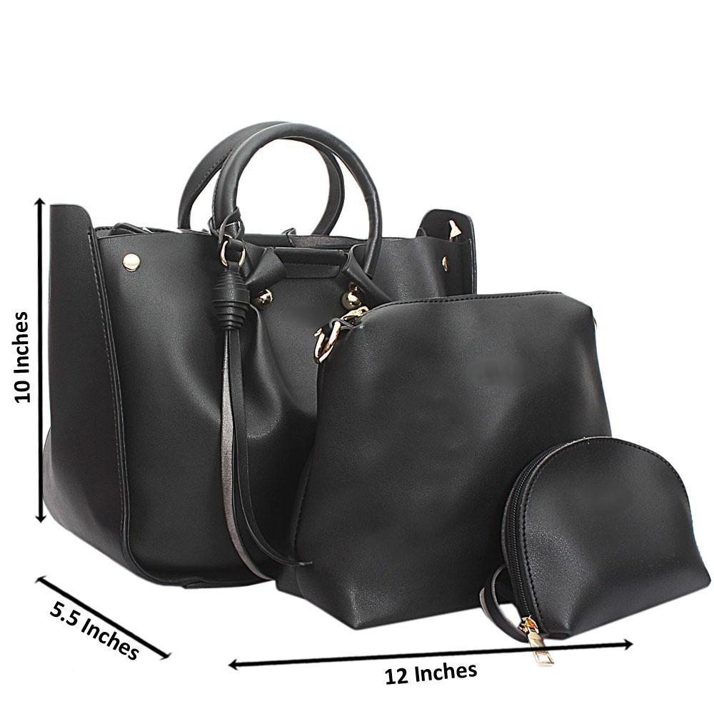 Black Leather Medium Nice Handbag