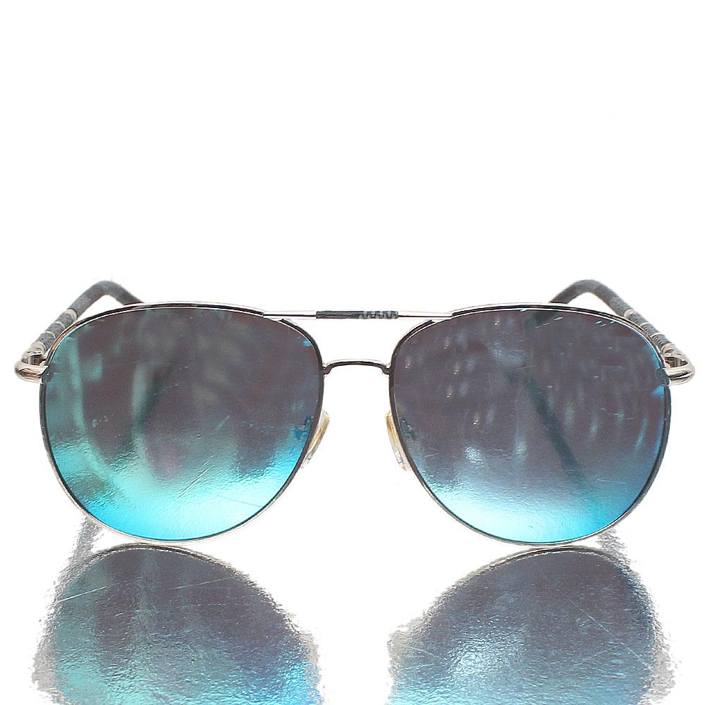 Silver Gray Aviator Blue Polarized Lens Sunglasses
