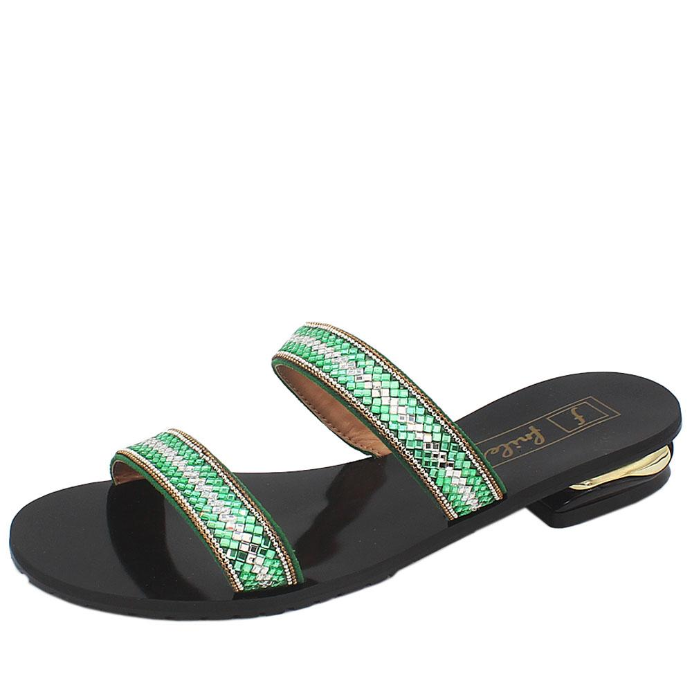Black Green Crystals Studded Leather Low Heel Ladies Slippers