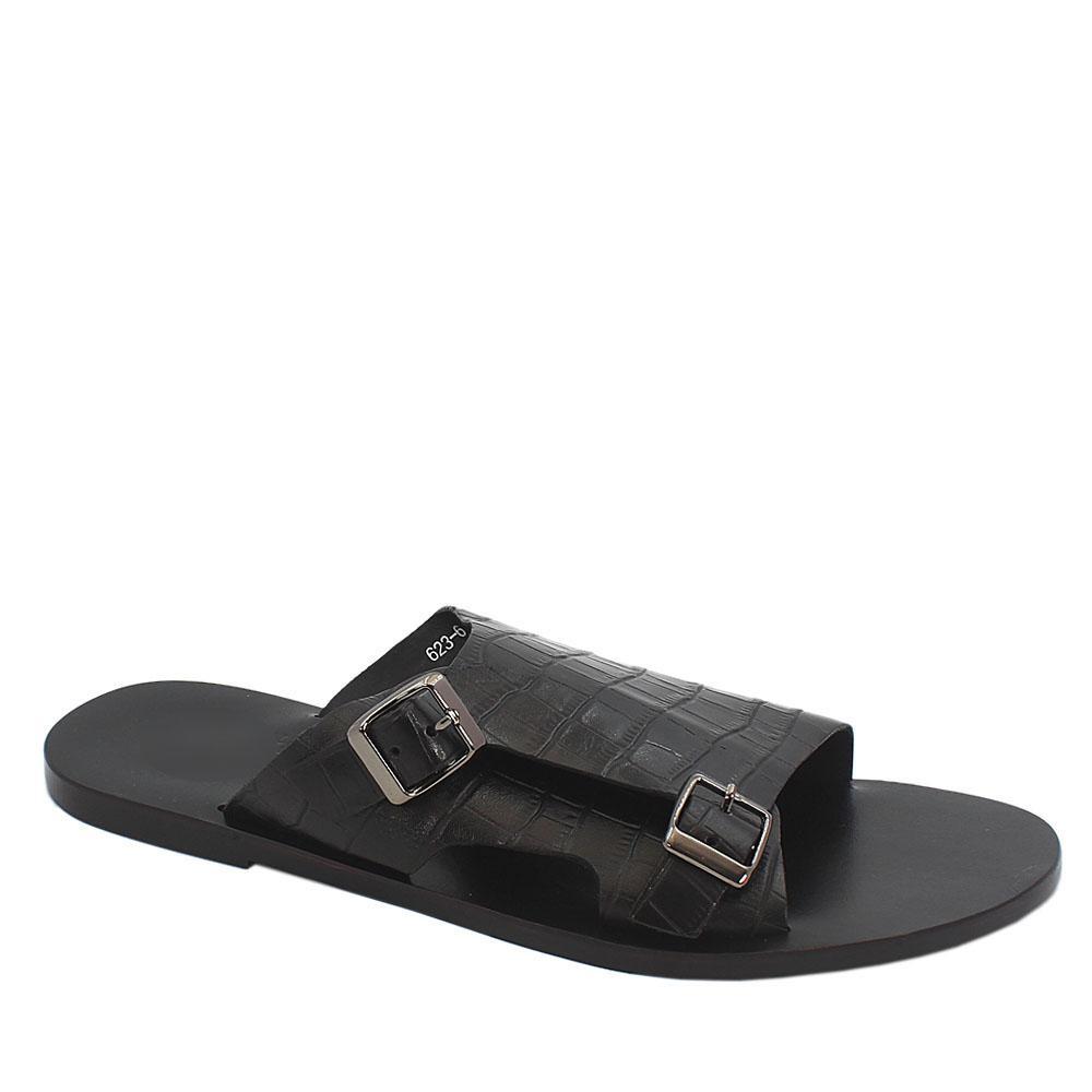 Black Croc Italian Leather Monk Strap Men Slippers