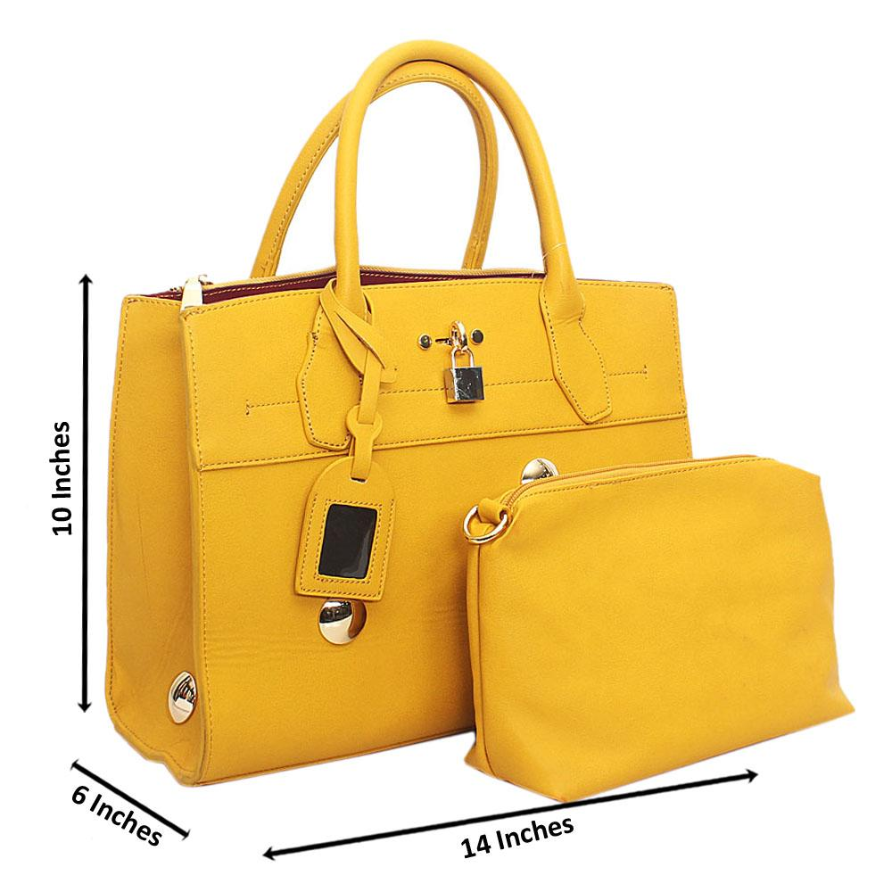 Yellow Leather  Handbag Wt Side Peeling
