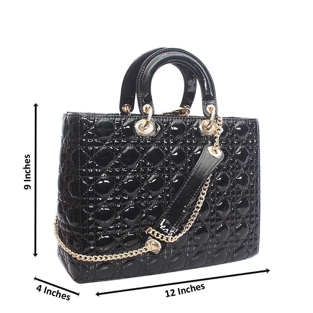 Black Patent Leather Medium Tote Handbag